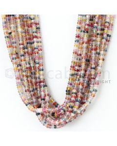 10 Lines - 3.2 to 3.7 mm - Medium Tones Multi Sapphire Faceted Beads - 600.00 cts. (MSFB1039)