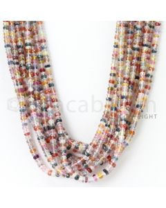 10 Lines - 3.3 to 3.6 mm - Medium Tones Multi Sapphire Faceted Beads - 592.25 cts. (MSFB1040)