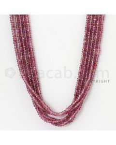 5 Lines - 3.3 mm - Medium Purple Sapphire Faceted Beads - 188.37 cts. (PPSFB1002)