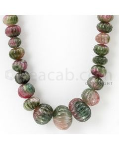 1 Line - 9 to 17 mm - Dark Tones Watermelon Tourmaline Carved Beads - 398.50 cts. (TOCARB1007)