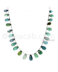 23 pcs - Dark Green - Tourmaline Faceted Drops (AAA) - 122.00 cts. (TFD1013)