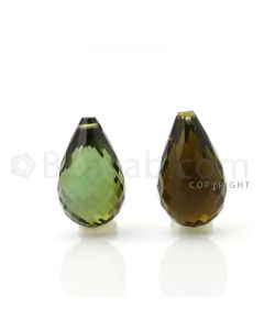2 pcs - Dark Green - Tourmaline Faceted Drops (AAA) - 10.76 cts. (TFD1016)