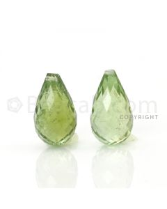2 pcs - Light Green - Tourmaline Faceted Drops (AAA) - 9.85 cts. (TFD1023)