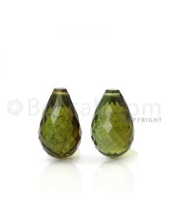 2 pcs - Medium Green - Tourmaline Faceted Drops (AAA) - 8.64 cts. (TFD1024)