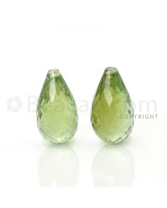2 pcs - Light Green - Tourmaline Faceted Drops (AAA) - 9.69 cts. (TFD1025)