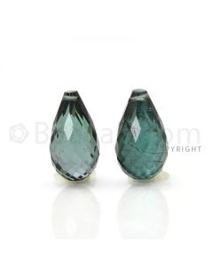 2 pcs - Dark Green - Tourmaline Faceted Drops (AAA) - 7.84 cts. (TFD1026)