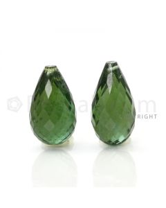 2 pcs - Dark Green - Tourmaline Faceted Drops (AAA) - 11.97 cts. (TFD1027)