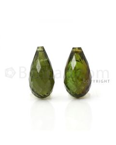 2 pcs - Medium Green - Tourmaline Faceted Drops (AAA) - 9.05 cts. (TFD1033)