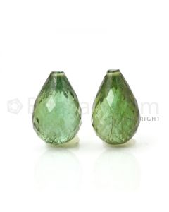 2 pcs - Medium Green - Tourmaline Faceted Drops (AAA) - 13.35 cts. (TFD1039)