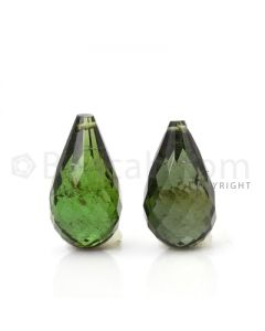 2 pcs - Dark Green - Tourmaline Faceted Drops (AAA) - 12.22 cts. (TFD1045)