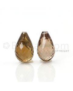 2 pcs - Brown - Tourmaline Faceted Drops (AAA) - 17.45 cts. (TFD1058)