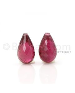 2 pcs - Medium Pink - Tourmaline Faceted Drops (AAA) - 12.86 cts. (TFD1065)