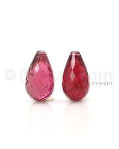2 pcs - Medium Pink - Tourmaline Faceted Drops (AAA) - 14.03 cts. (TFD1067)
