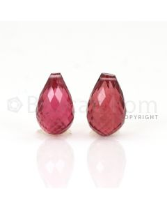 2 pcs - Medium Pink - Tourmaline Faceted Drops (AAA) - 9.71 cts. (TFD1075)