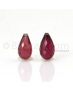 2 pcs - Medium Pink - Tourmaline Faceted Drops (AAA) - 7.23 cts. (TFD1077)