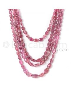 4 Lines - 7.40 x 5.62 mm to 15.70 x 10.10 mm - Medium Pink Tourmaline Tumbled Beads - 472 cts. (TOTUB1083)