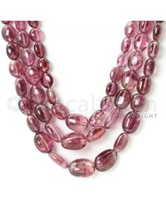 3 Lines - 9.10 x 7 mm to 13.50 x 10 mm - Medium Pink Tourmaline Tumbled Beads - 368 cts. (TOTUB1084)