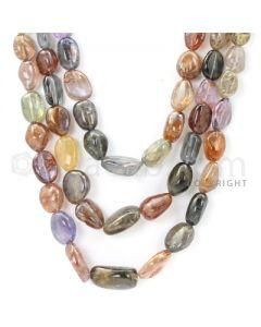 3 Lines - 13 x 10 mm to 21 x 14 mm - Medium Tones Multi-Sapphire Tumbled Beads - 1236 cts. (MSTUB1061)