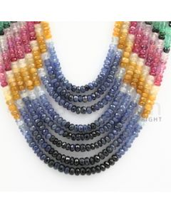 3.50 to 4.75 mm - Emerald, Ruby, Sapphire, Multi Sapphire Faceted Beads - 467.20 carats - 13 to 17 inches (MSFBwE1002)
