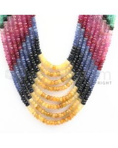 3.00 to 4.50 mm - Emerald, Ruby, Sapphire, Multi Sapphire Faceted Beads - 436.50 carats - 13 to 18 inches (MSFBwE1004)