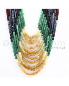 2.50 to 4.50 mm - Emerald, Ruby, Sapphire, Multi Sapphire Faceted Beads - 591.90 carats - 17 to 23  inches (MSFBwE1005)