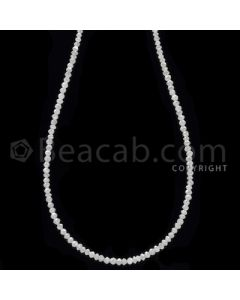 1 Line - White Diamond Faceted Beads - 14.00 cts - 2 to 2.30 mm (WDB1057)