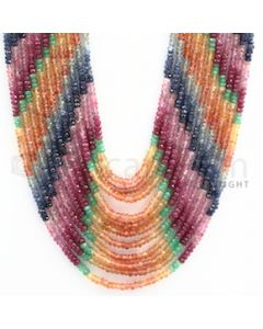 3.00 to 3.50 mm - Emerald, Ruby, Sapphire, Multi Sapphire Faceted Beads - 491.10 carats - 15 to 20 inches (MSFBwE1006)