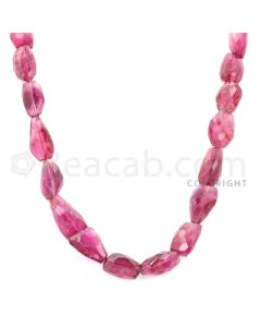 1 Line - Medium Pink Tourmaline Faceted Tumbled Beads - 184.00 cts - 11.4 x 8.8 mm to 16 x 10.30 mm (TOFTUB1013)