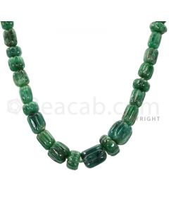 1 Line - Green Emerald Carved Beads - 196.00 cts - 7.20 x 6.3 mm to 12.9 x 9.5 mm (EMCRB1016)