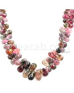 1 Line - Watermelon (Bi-Color) Tourmaline Drop Beads - 266.00 cts - 5.7 x 3.7 mm to 11.8 x 7.2 mm (TFD1151)-OOS