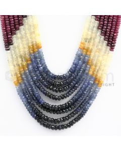 3.00 to 4.00 mm - Emerald, Ruby, Sapphire, Multi Sapphire Faceted Beads - 329.60 carats - 14 to 17 inches (MSFBwE1009)