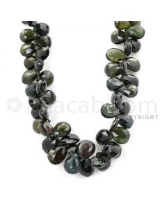1 Line - Dark Green Tourmaline Faceted Drops - 7.5 x 5.8 mm to 12.5 x 8.5 mm (TFD1152)