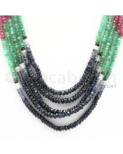 2.50 to 3.00 mm - Emerald, Ruby, Sapphire, Multi Sapphire Faceted Beads - 143.20 carats - 15 to 17 inches (MSFBwE1011)