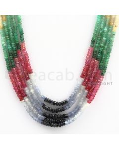 2.50 to 3.00 mm - Emerald, Ruby, Sapphire, Multi Sapphire Faceted Beads - 139.50 carats - 15 to 16.5 inches (MSFBwE1012)