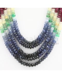 4.00 to 5.00 mm - Emerald, Ruby, Sapphire, Multi Sapphire Faceted Beads - 428.55 carats - 15 to 18 inches (MSFBwE1014)