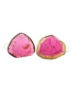 2 pcs - Watermelon (Bi-Color) Tourmaline Slices - 29.50 cts - 20.8 x 18.4 x 4.9 mm (TOUSL1037)