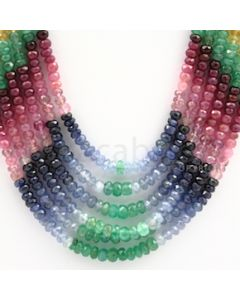 4.00 to 4.70 mm - Emerald, Ruby, Sapphire, Multi Sapphire Faceted Beads - 421.25 carats - 15 to 18 inches (MSFBwE1015)