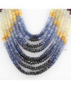 2.75 to 4.00 mm - Emerald, Ruby, Sapphire, Multi Sapphire Faceted Beads - 325.65 carats - 13 to 18 inches (MSFBwE1016)