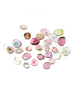 25 pcs - Watermelon (Bi-Color) Tourmaline Slices - 28.19 cts - 5.9 x 5.5 x 1.9 mm to 11.8 x 6.6 x 2.4 mm (TOUSL1087)
