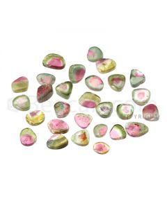 28 pcs - Watermelon (Bi-Color) Tourmaline Slices - 40.50 cts - 6.9 x 5.2 x 2 mm to 10.6 x 7.2 x 2.3 mm (TOUSL1063)