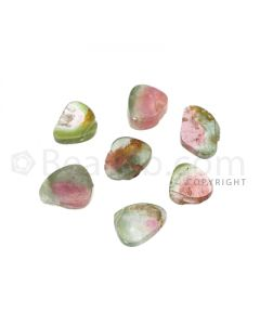 7 pcs - Watermelon (Bi-Color) Tourmaline Slices - 8.75 cts - 8 x 7.3 x 1.5 mm to 10.7 x 6.8 x 2.2 mm (TOUSL1059)
