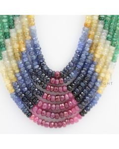 3.00 to 4.50 mm - Emerald, Ruby, Sapphire, Multi Sapphire Faceted Beads - 452.30 carats - 16 to 20 inches (MSFBwE1018)