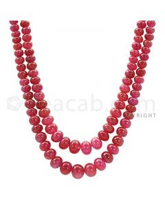 2 Lines - Red Ruby Smooth Beads - 270.5 cts - 4.6 to 7.6 mm (RSB1041)