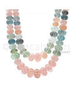 2 Lines - Medium Tones Smooth Aquamarine Beads - 1233 cts - 10.4 x 16.2 mm to 10.4 x 15.6 mm (AQSB1013)-OOS