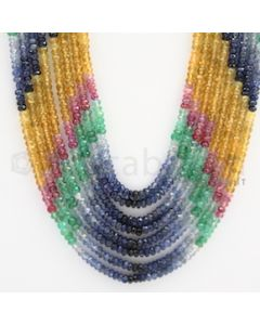 3.25 to 3.50 mm - Emerald, Ruby, Sapphire, Multi Sapphire Faceted Beads - 402 carats - 18 to 22 inches (MSFBWE1021)