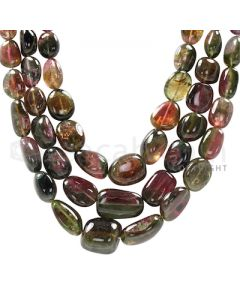 3 Lines - Watermelon (Bi-Color) Multi-Tourmaline Tumbled Beads - 740 cts - 8.4 x 8.2 mm to 19.2 x 11.4 mm (MTOUR1021)