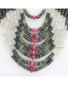 4.00 to 8.00 mm - Multi Sapphire Faceted Beads - 1111.00 carats - 19 to 25 inches (MSFBnE1022)