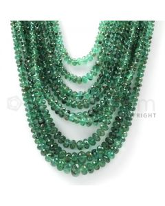 9 Lines - Dark Green Emerald Faceted Beads - 601.9 cts - 2.9 to 8.2 mm (EMFB1033)