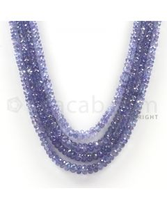 4 Lines - Violet Tanzanite Faceted Beads - 203.3 cts - 2.9 to 5.1 mm (TZFB1019)