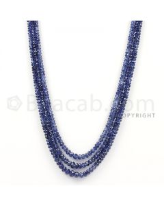 3 Lines - Dark Blue Sapphire Faceted Beads - 126 cts - 2.3 to 10 mm (SFB1079)